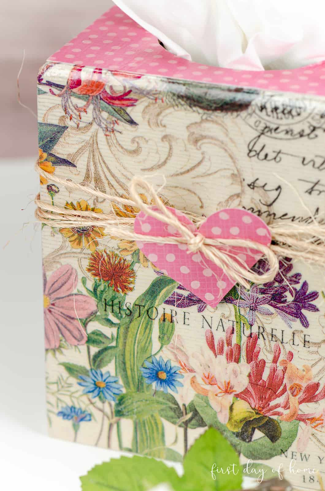 Close up of wooden DIY tissue box cover made by decoupaging napkins with Mod Podge