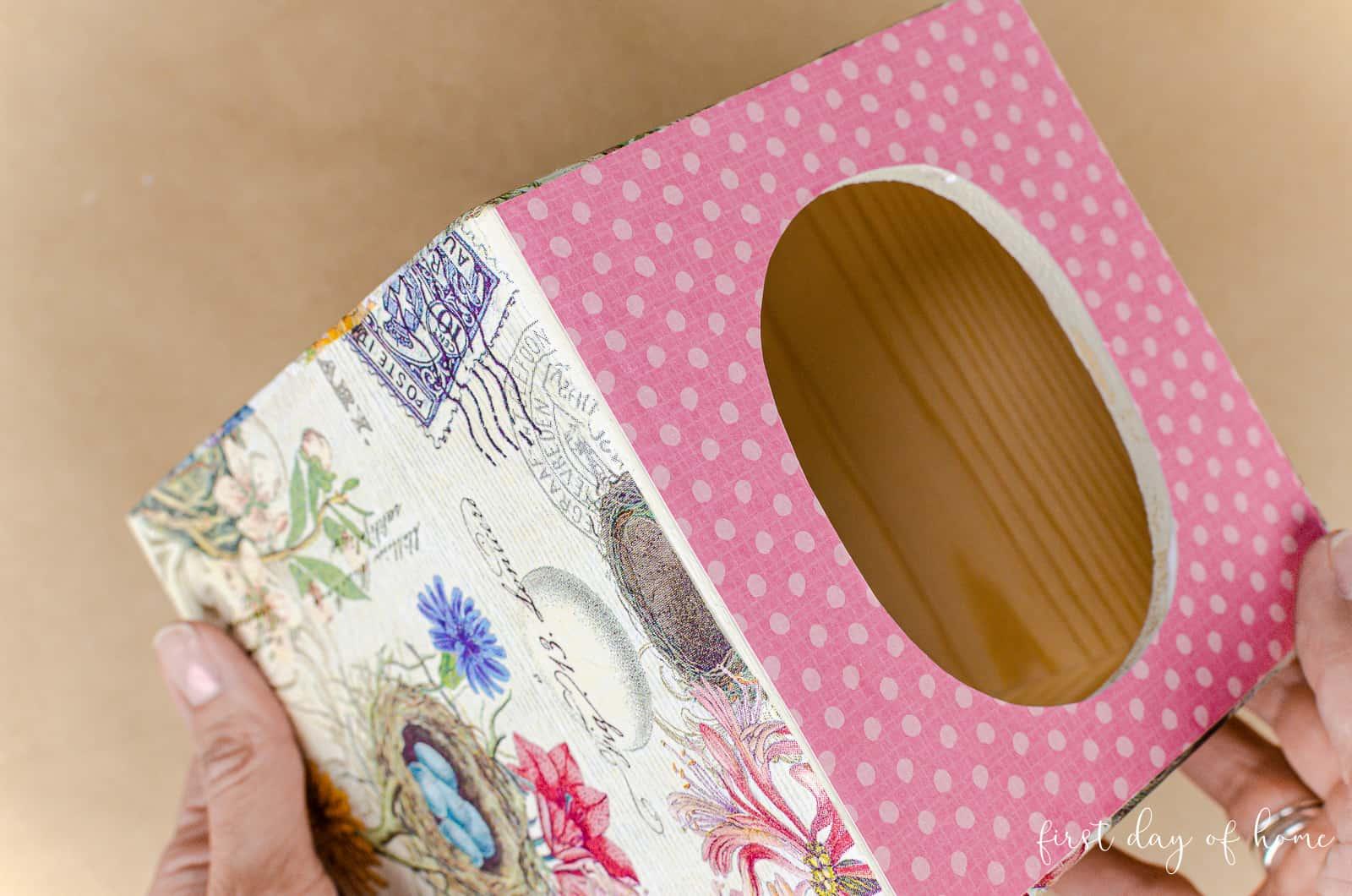 Side view of DIY decoupage tissue box