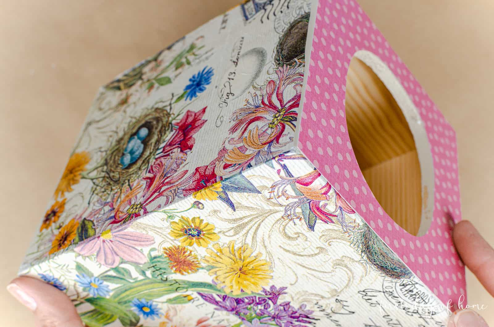 Decoupage napkins on wood tissue box cover