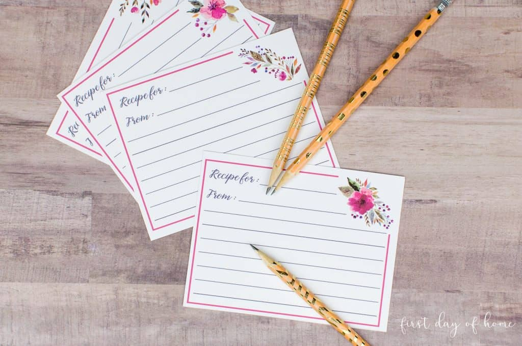 Recipe cards with floral design and gold washi tape pencils
