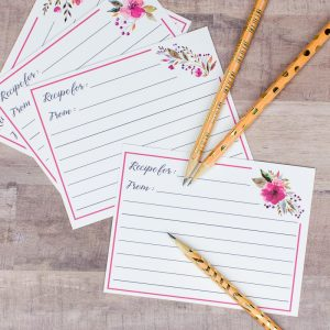 Beautiful Floral Recipe Cards You Can Download for Free