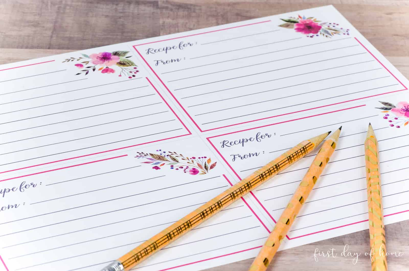 Printed sheet of recipe cards with gold washi tape pencils