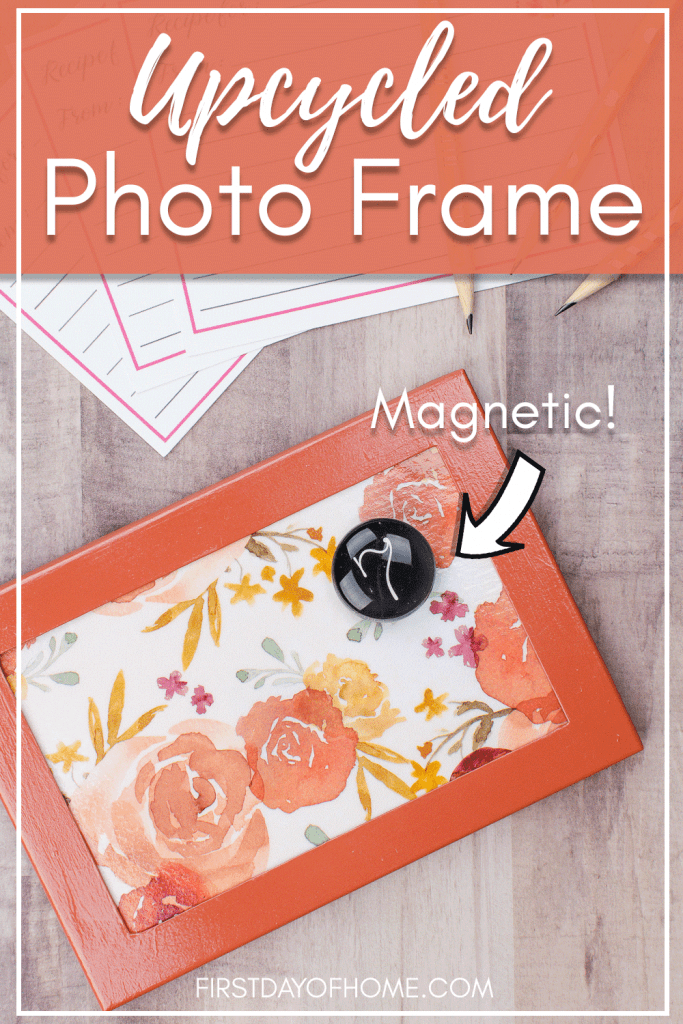 Magnetic upcycled frame made with decoupage insert and recipe cards