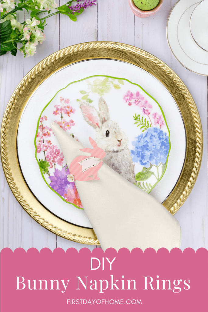 Bunny napkin holder place setting for Easter decor