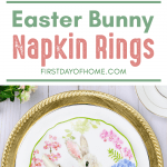 Easter bunny napkin rings made from scrapbook paper and ribbon for DIY Easter decor