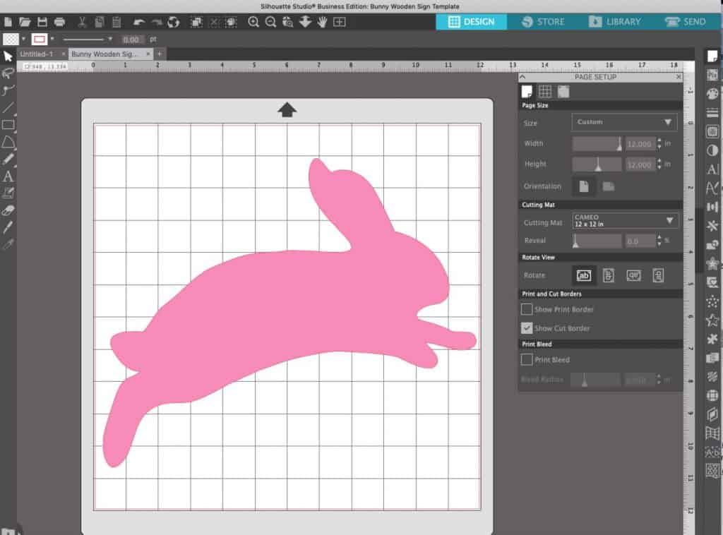 Silhouette Studio screenshot of DIY wooden Easter bunny pattern.