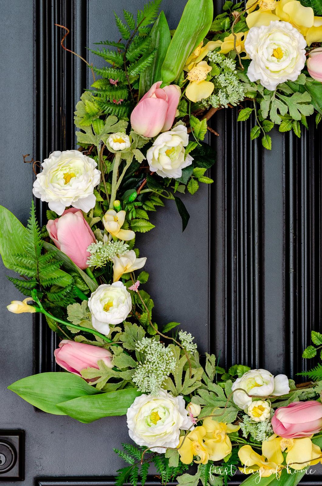 DIY spring wreath for front door
