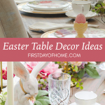 Easter table decorations with bunnies, flowers, patterned plates and speckled eggs