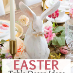 Easter table decor with bunnies, pastel flowers, centerpieces and place settings