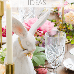 Easter table decor and tablescape ideas with floral garland, Easter eggs, candles and bunny plate place settings