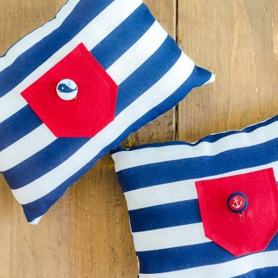 Tooth Fairy Pillows in red, blue and white
