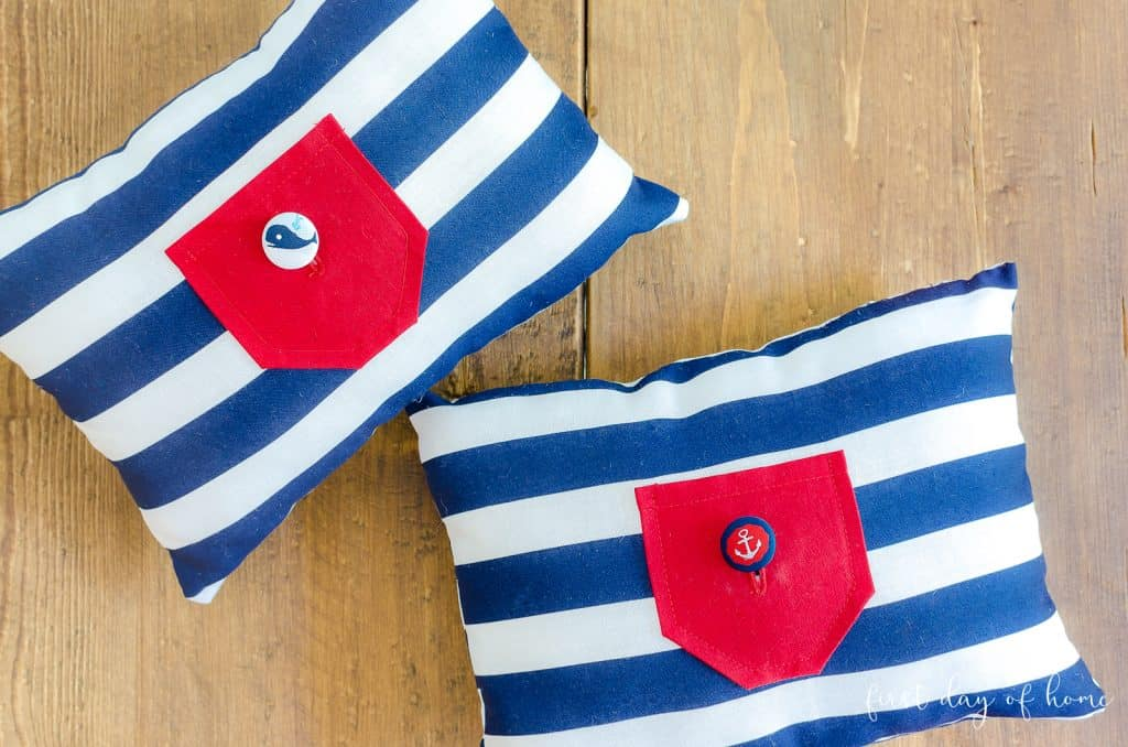 Finished tooth fairy pillow with red, white and blue nautical theme.