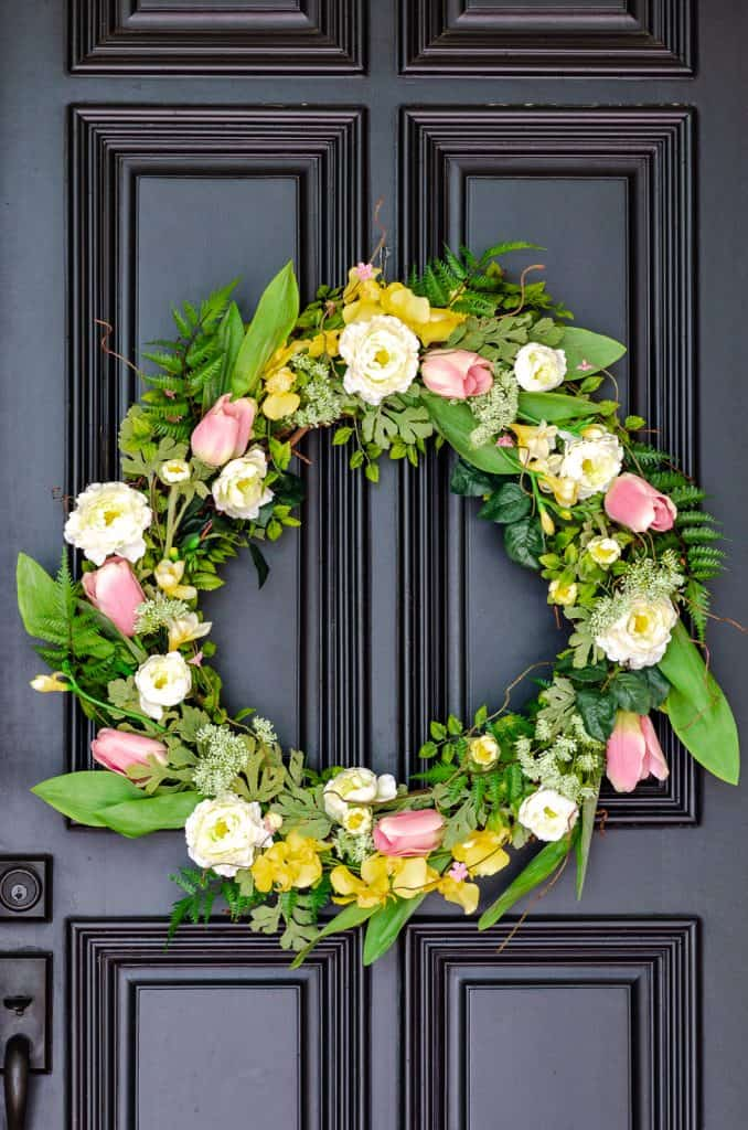 Spring floral wreath on front door
