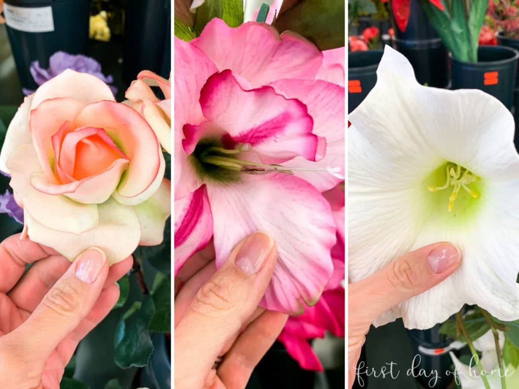 Examples of artificial flowers you should not buy for outdoor spring wreath (roses and rubber-like petals)