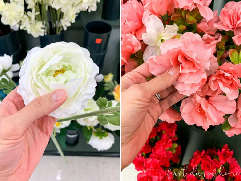 Examples of best artificial flowers to buy for outdoor spring wreath (ranunculus and other paper-like petals)