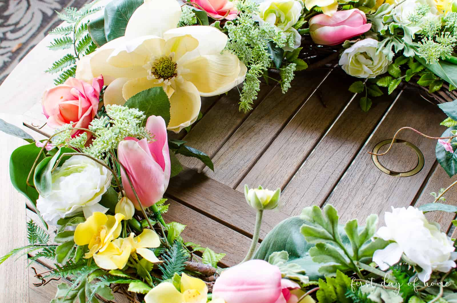 Floral wreath for spring after one year of use