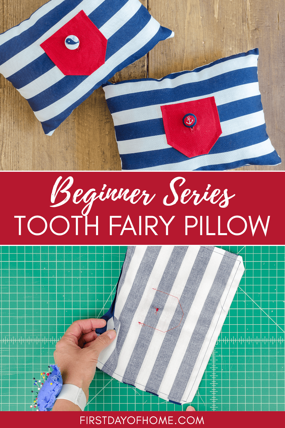 Easy tooth fairy pillow sewing tutorial with free pattern.