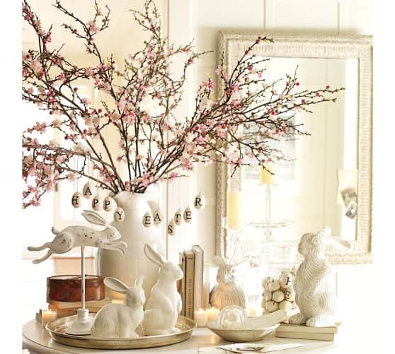Pottery Barn tablescape with bunny on stand