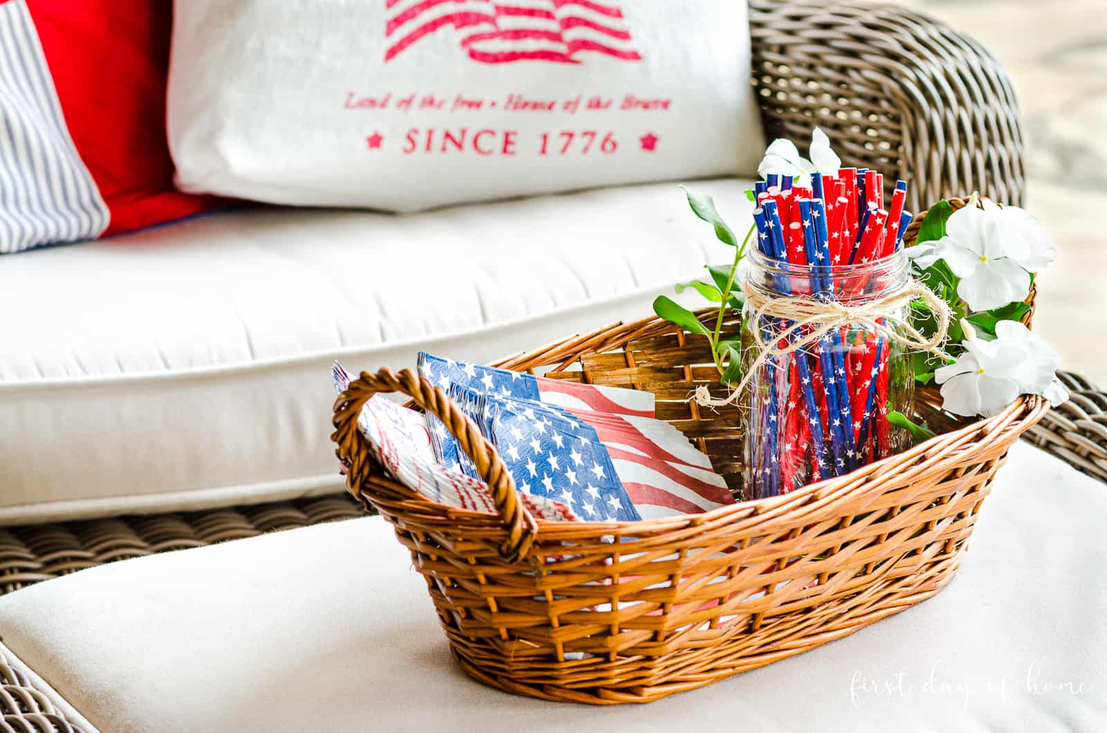 Wicker basket with patriotic paper goods