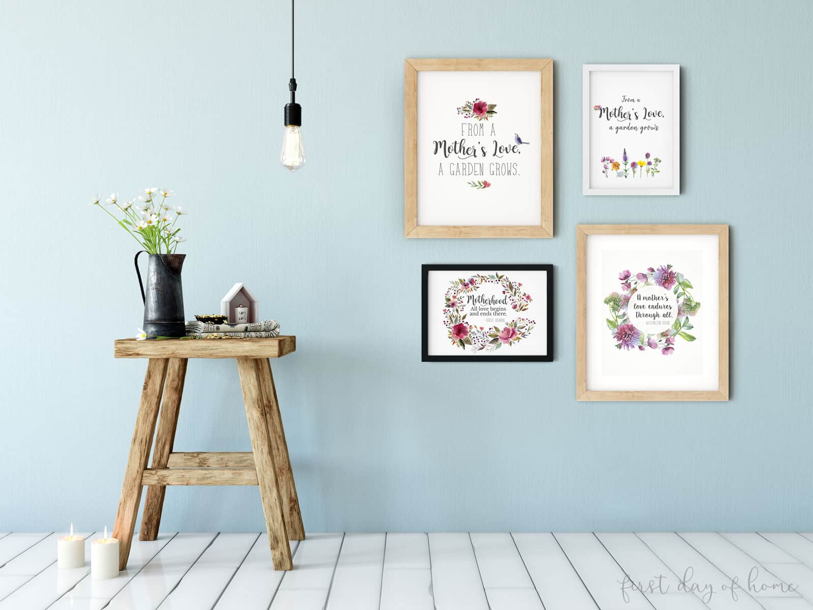 Set of four free printables for Mother's Day with floral watercolor designs