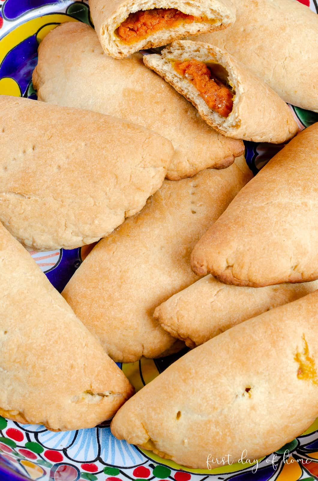Mexican baked empanadas with pumpkin filling