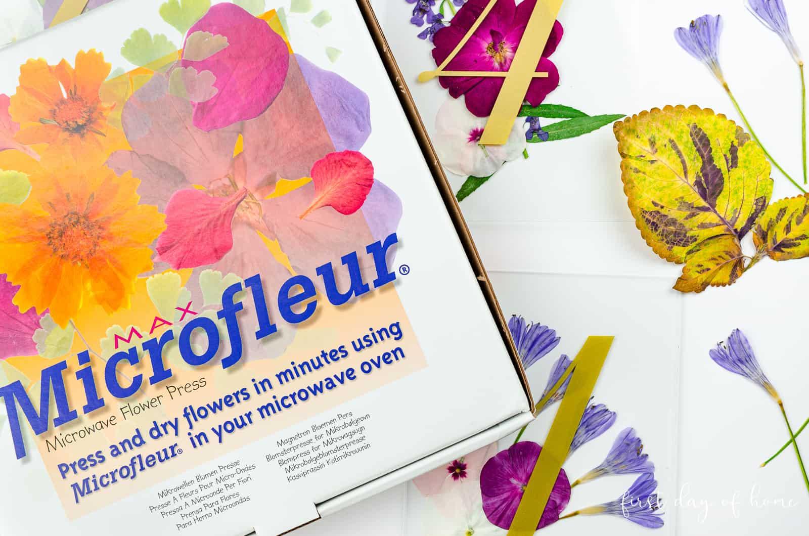 Microfleur microwave flower press to make wedding table number frames