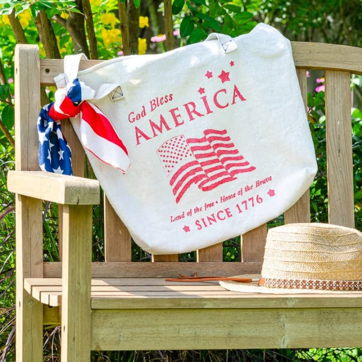 Hand painted tote bag with patriotic theme stenciled on top