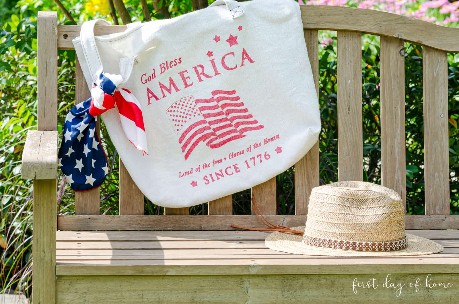 Canvas bag painting project with stenciled patriotic design