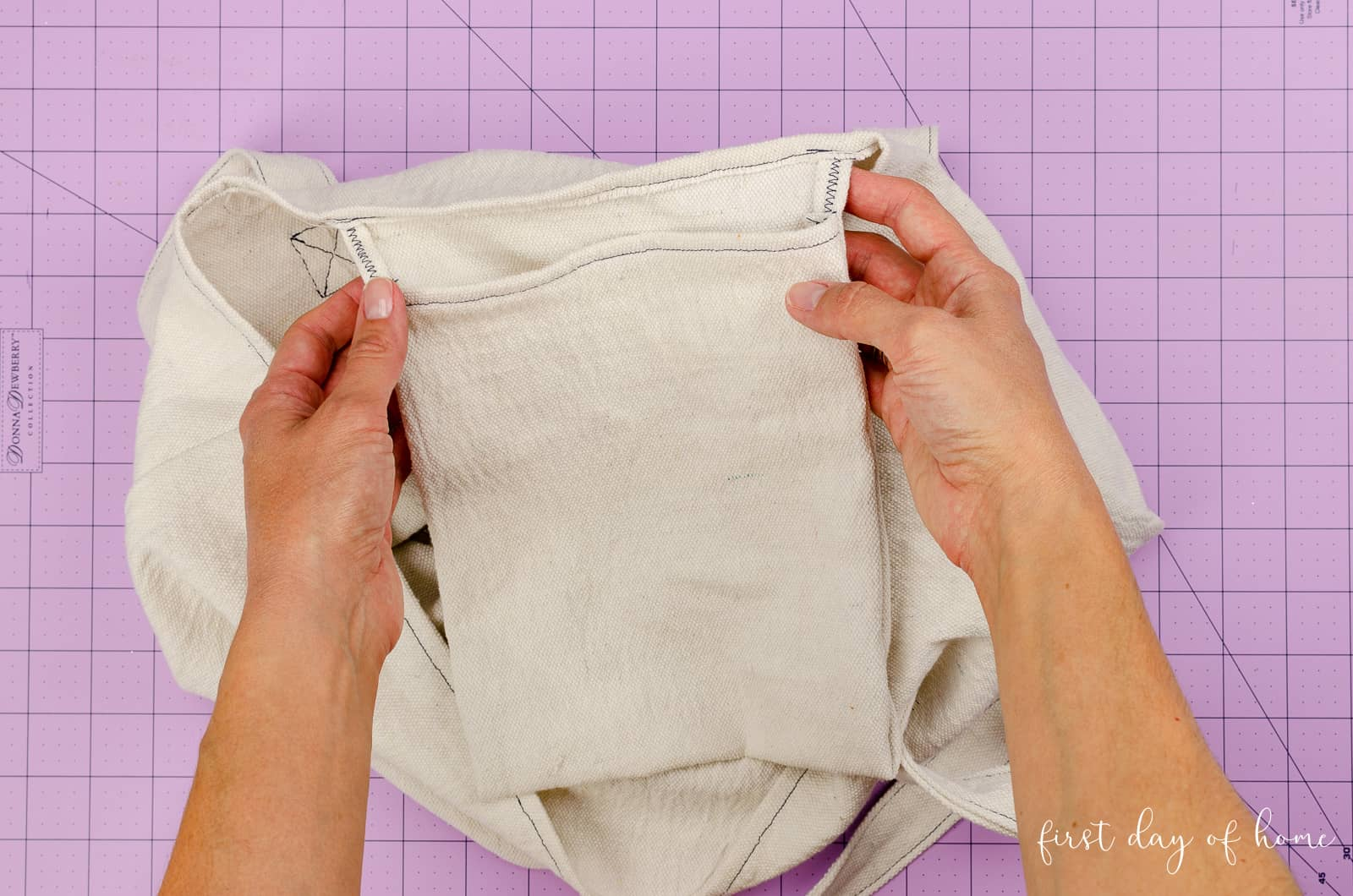 Inner pocket included when sewing tote bags from drop cloth fabric