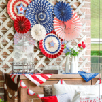 """July 4th party decor with red, white, and blue accents and text overlay reading """"July 4th Decor Ideas"""""""