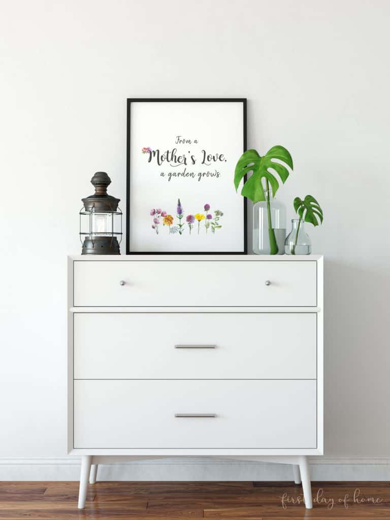 Free printable Mother's Day art piece framed on white dresser