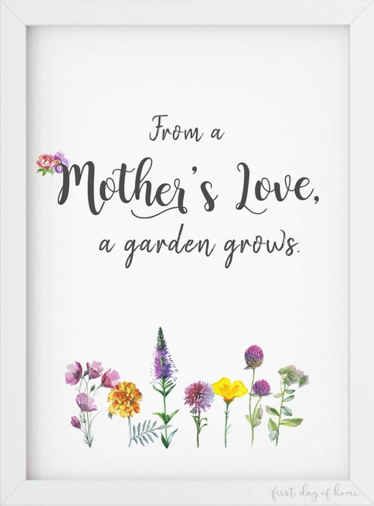 From a Mother's Love a Garden Grows free watercolor printable for Mother's Day