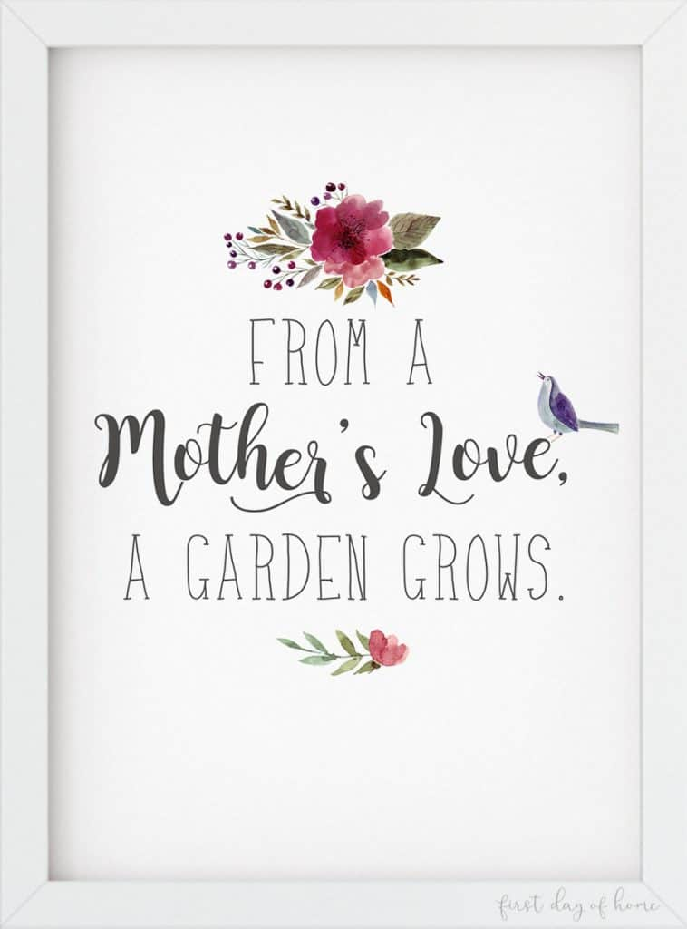 From a Mother's Love a Garden Grows free printable watercolor art