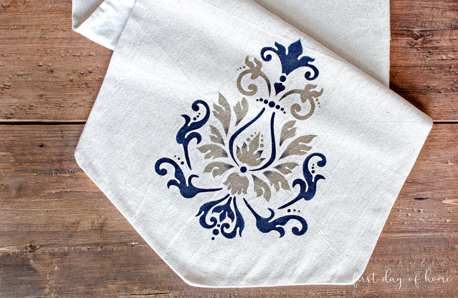 Painted canvas table runner using Americana stencil design in brocade motif