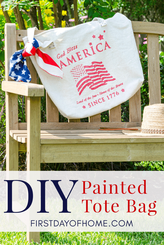 How to paint a canvas bag using stencils - patriotic bag with stenciled American flag design