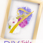 Wedding table number holders using pressed flowers and gold frames