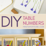 Wedding table numbers with pressed flower art and vinyl numbers