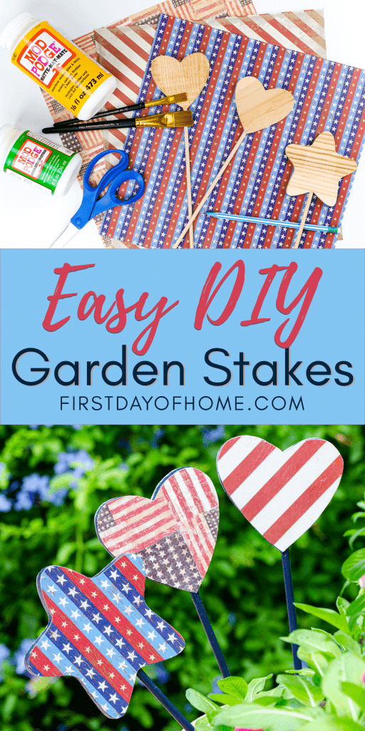 Easy DIY garden stakes with Americana theme