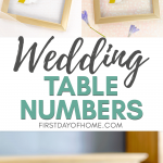 DIY wedding table numbers with pressed flowers in gold dollar store frames
