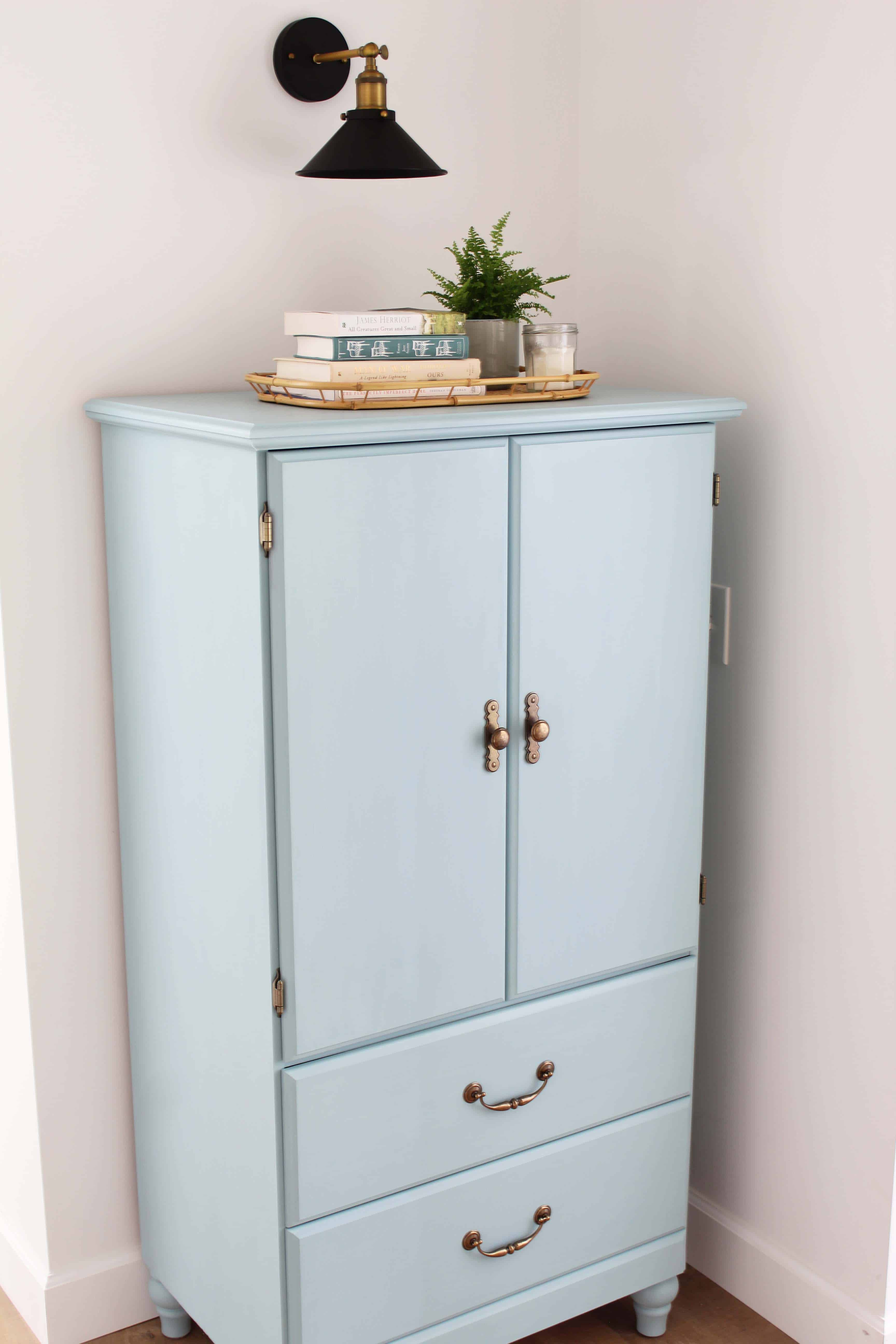 Thrifted cabinet makeover - DIY armoire upcycle project - A Nod to Navy