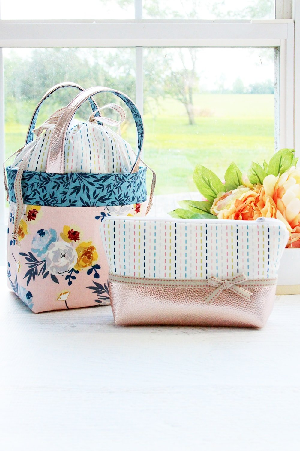 Blooms and bobbins fabric bag set from Flamingo Toes