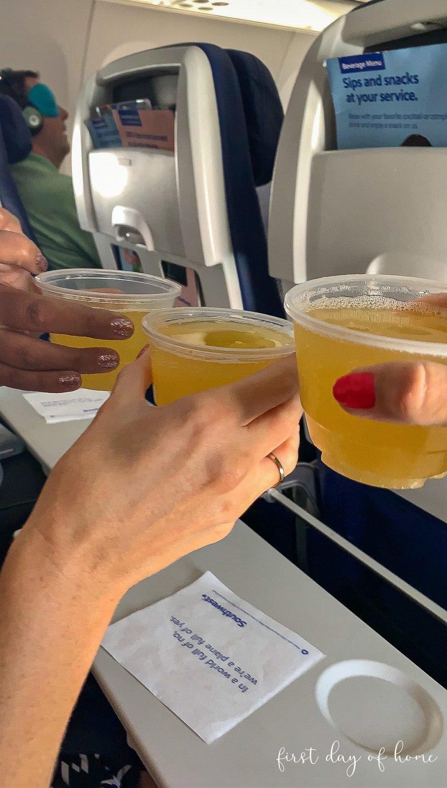 Three bloggers saying cheers on the plane with mimosas