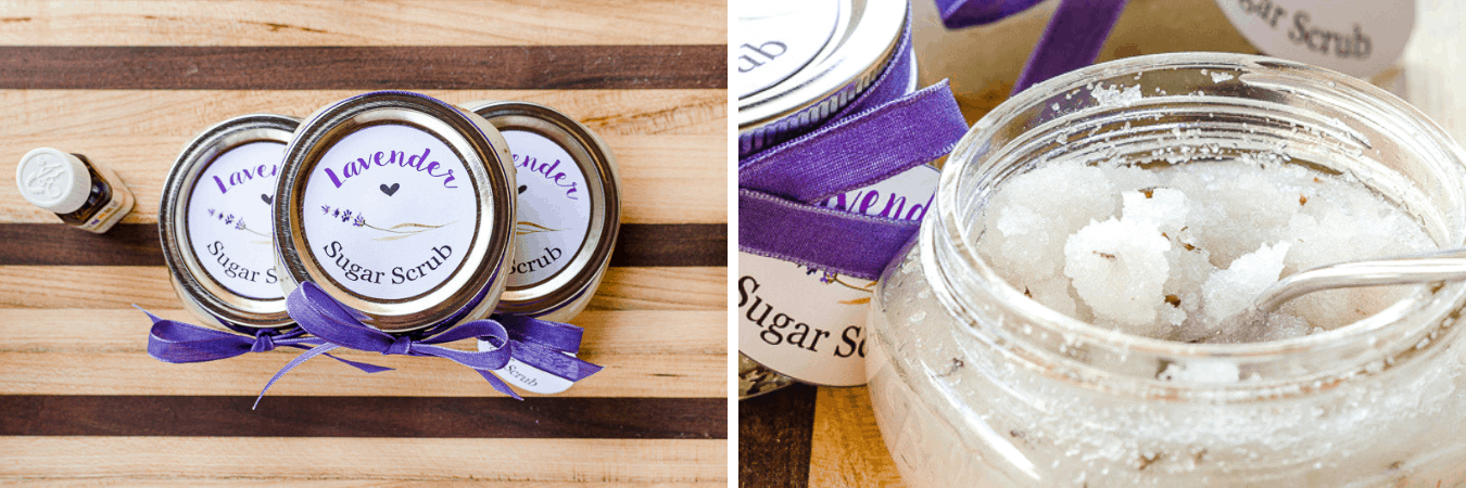 Lavender Sugar Scrub in Mason Jars - Easy Recipe - First Day of Home