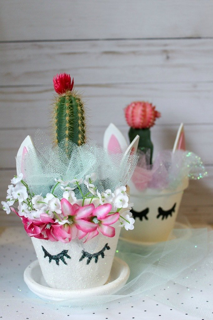 Potted cacti with unicorn decoration