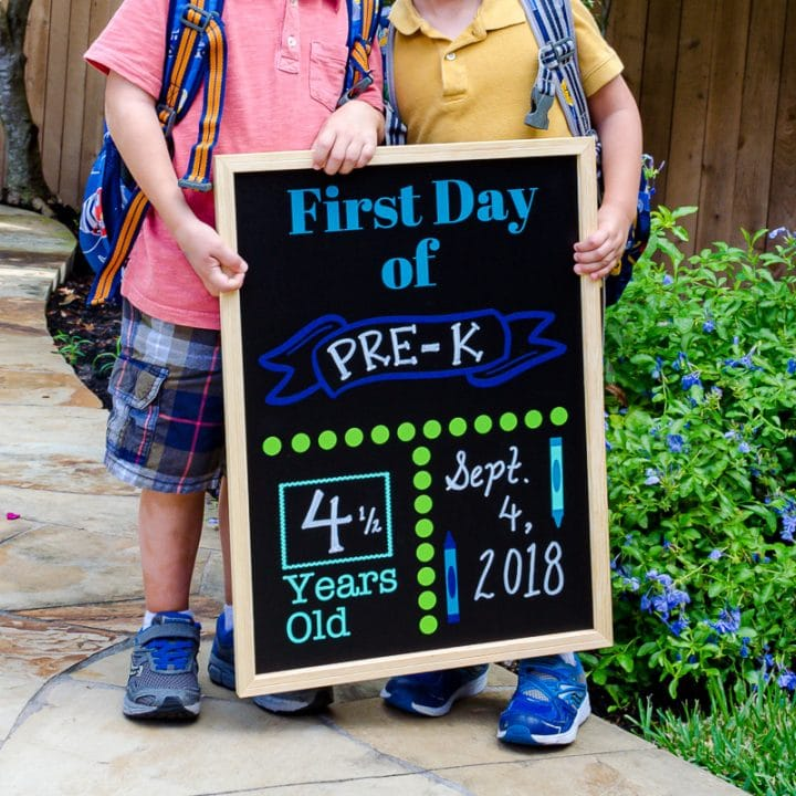 Back to School chalkboard sign DIY with free SVG file and printable