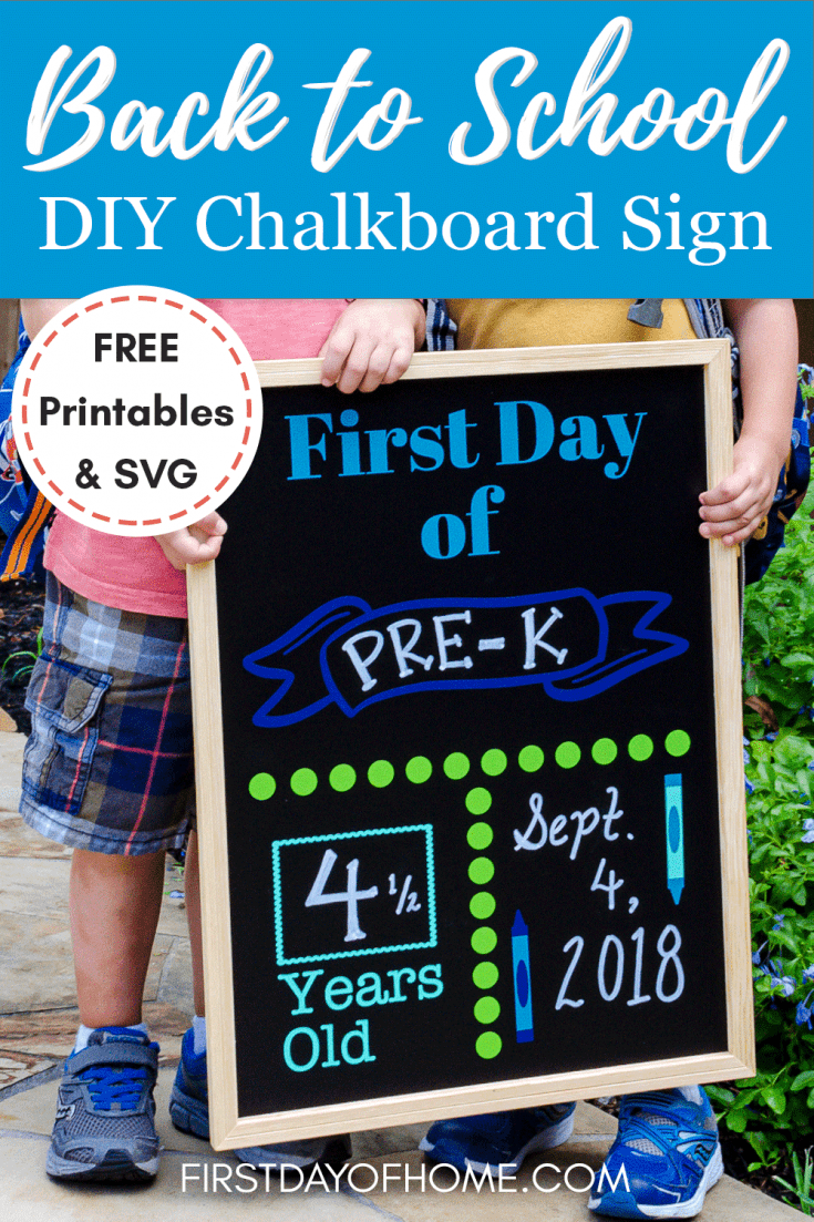 Make a reusable DIY back to school sign using a Cameo or Cricut and a FREE SVG file, or get a FREE printable sign you can fill in with your child's age, grade and details. Get a full tutorial to make your own sign. #freeprintables #cameo #cricut #backtoschool #diysigns #firstdayofhome