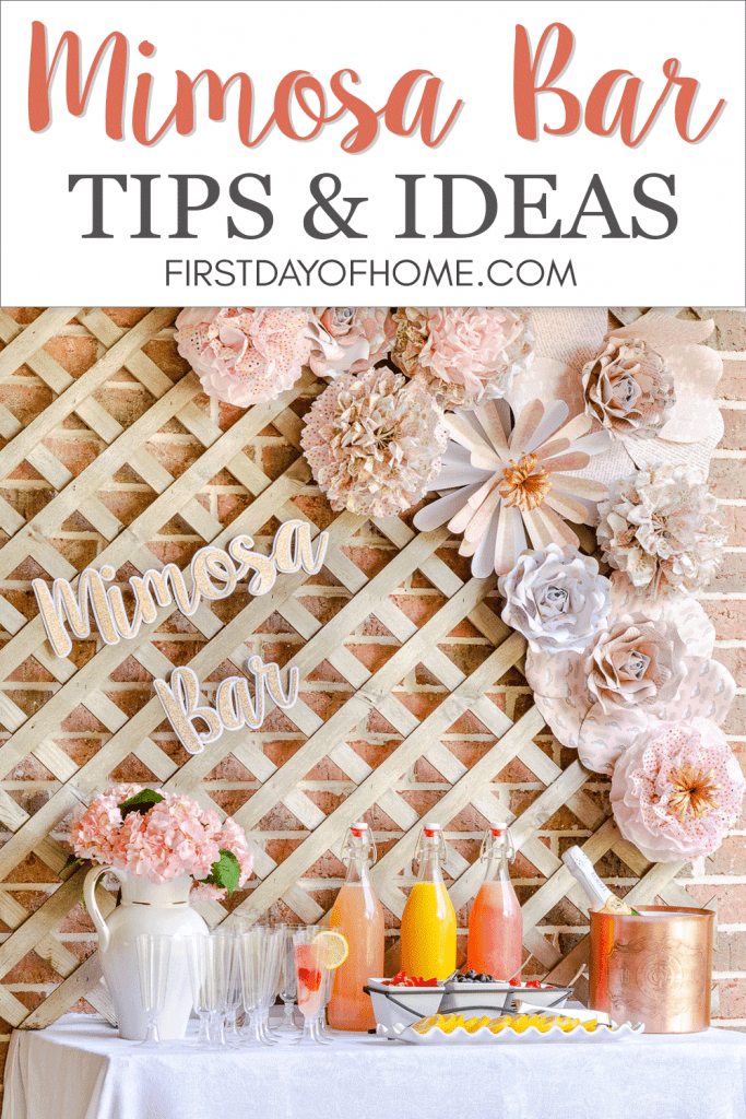 Mimosa bar ideas pin with paper flower decor, pom poms and fruit juices