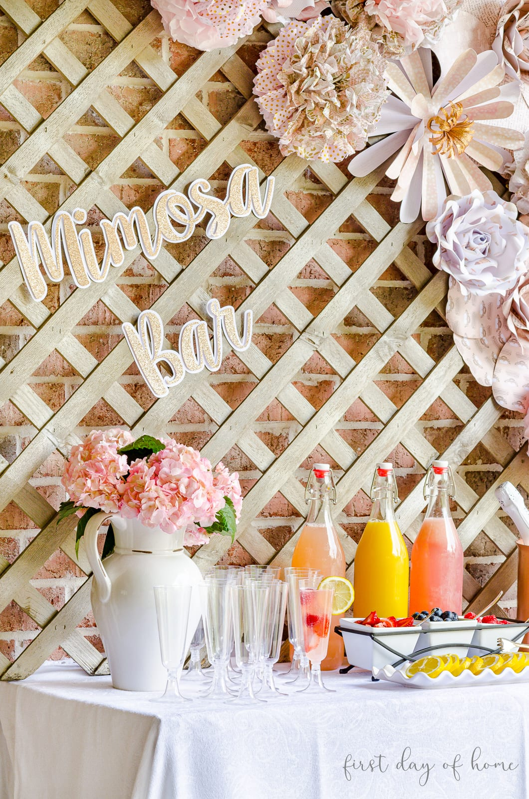 Mimosa bar ideas for juices and garnishes