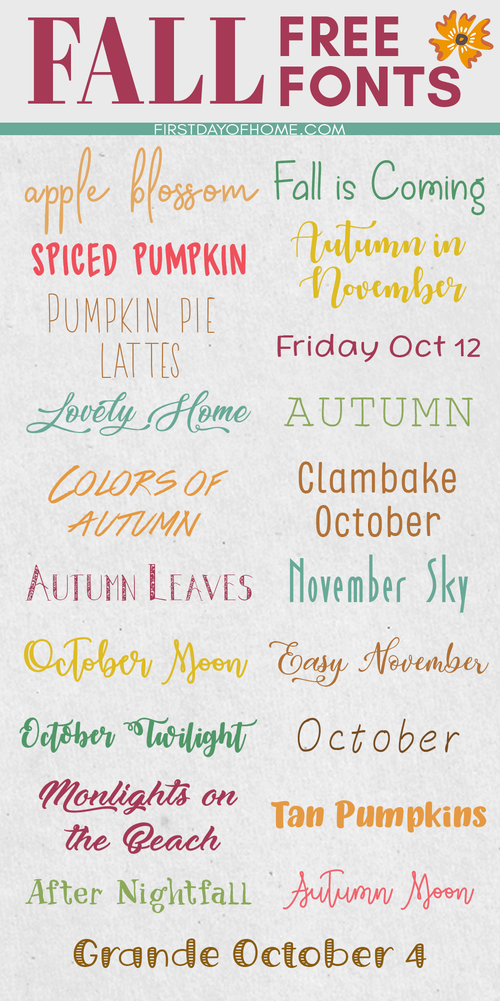 Fall fonts you can download for free for various fall crafts including Cricut Maker and Silhouette Cameo projects
