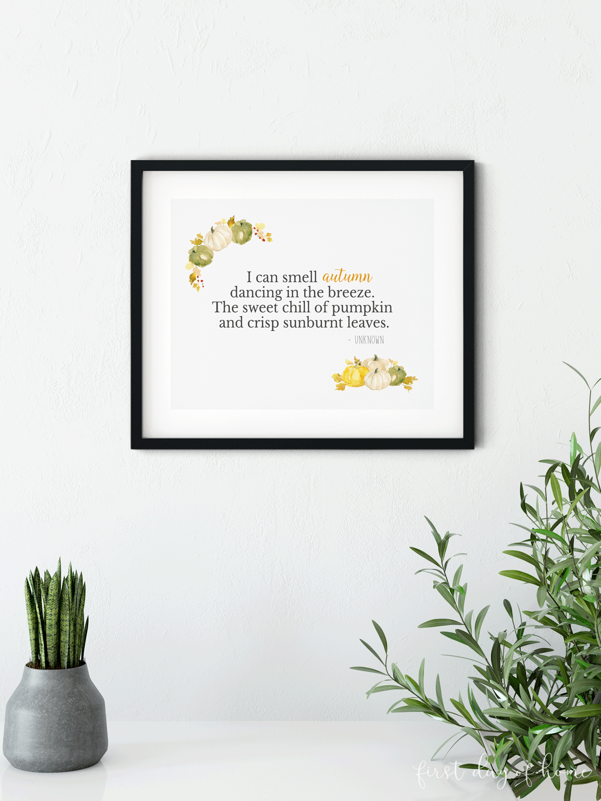 Printable fall decorations to hang on the wall with autumn poem